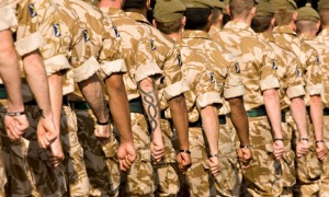 The Royal Regiment of Scotland military soldiers marching